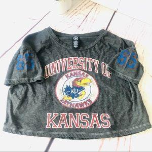 Recycled Karma Crop Top University Of Kansas Tee